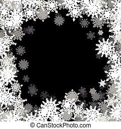 petit, cadre, flocons neige, rectangulaire