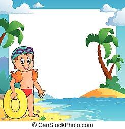 petit, cadre, plage, thème, nageur