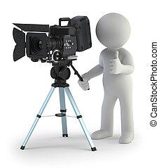 petit, cameraman, 3d, -, gens