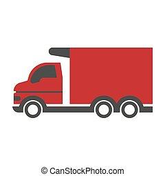 petit, camion, rouges