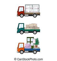petit, cargaison, ensemble, camions