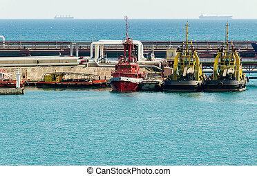 petit, cargaison, port, bateau, remorqueur