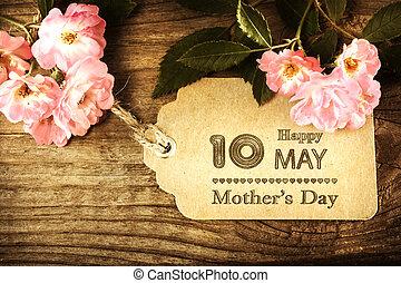 petit, carte, mères, roses, jour, mai, 10ème