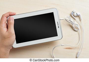 petit, casque à écouteurs, oreille, pc tablette