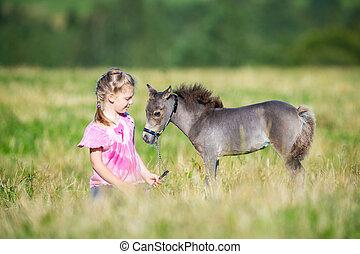 petit, champ, cheval, enfant, miniature