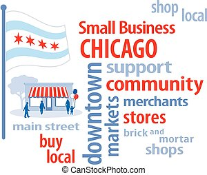petit, chicago, business, drapeau