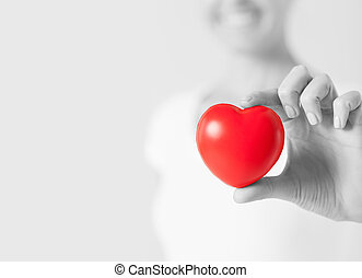 petit, coeur, femme, rouges, heureux