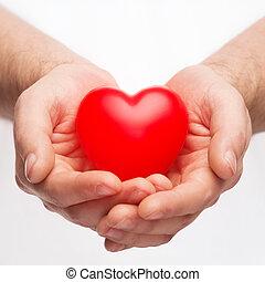 petit, coeur, mâle, rouges, mains