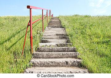 petit, colline, escalier
