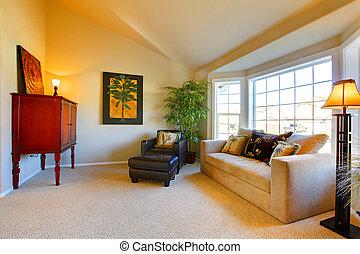 petit, confortable, salle de séjour