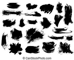 petit, coups pinceau, ensemble, noir, broussailleux