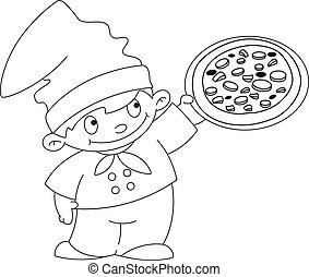 petit, cuisinier, esquissé, pizza