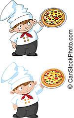 petit, cuisinier, pizza