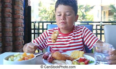 petit déjeuner, avoir, enfant