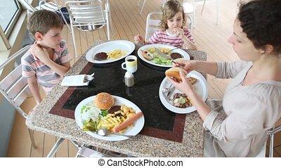 petit déjeuner, café, avoir, famille