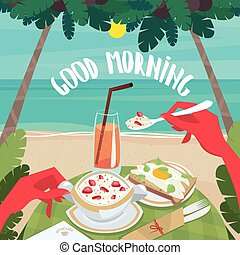 petit déjeuner continental, homme, manger, océan