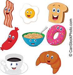 petit déjeuner, dessin animé, collection