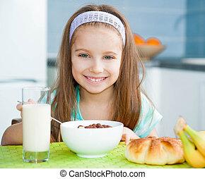 petit déjeuner, elle, manger, petite fille