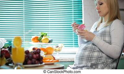 petit déjeuner, femme, pregnant