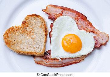 petit déjeuner, forme coeur