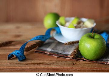 petit déjeuner, fruit, centimètre, pomme, régime