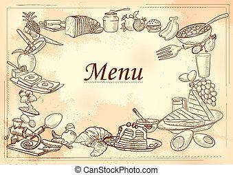 petit déjeuner, gabarit, types, restaurant, conception, article, menu, différent, ou, fond, hôtel