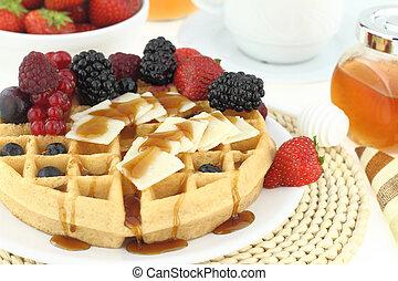petit déjeuner, gaufre, fruits