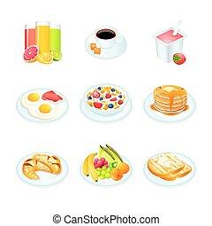 petit déjeuner, icônes