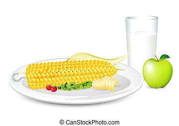 petit déjeuner, maïs, lait