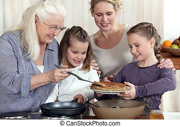 petit déjeuner, manger, famille