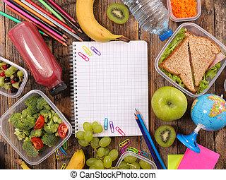 petit déjeuner, ou, déjeuner, à, école