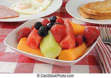 petit déjeuner, salade fruits