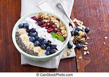 petit déjeuner, smoothie, bol, à, fruits