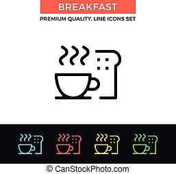 petit déjeuner, vecteur, mince, icon., ligne, icône