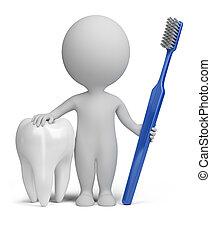 petit, dentiste, 3d, -, gens