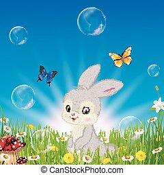 petit, dessin animé, fond, lapin, nature