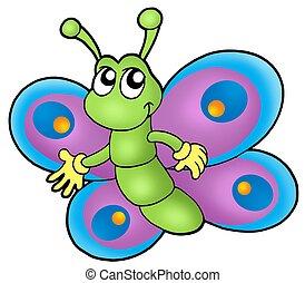 petit, dessin animé, papillon