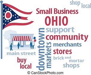 petit, drapeau, business, ohio