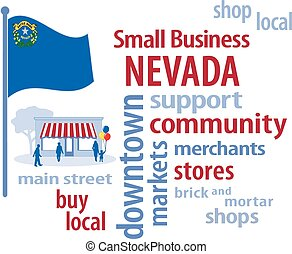petit, drapeau, nevada, business