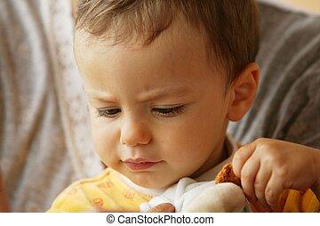 petit enfant, jouet, jouer, câlin