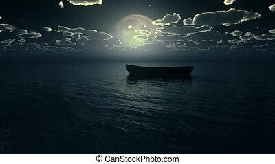 petit, entiers, bateau, lune