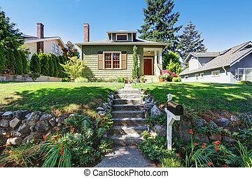 petit, exterior., maison, artisan, vert, américain
