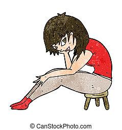 petit, femme, tabouret, dessin animé, séance