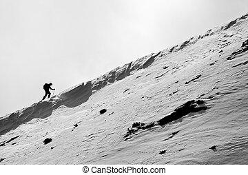 petit, figure, skieur