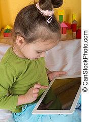 petit, filles, tablette