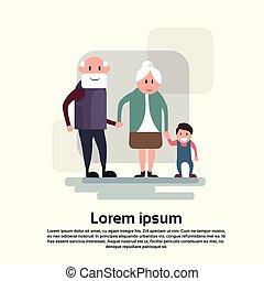 petit-fils, couple, grand-père, grand-mère, femme, homme aîné