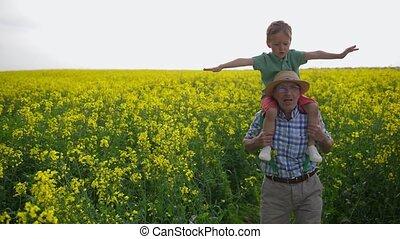 petit-fils, grand-père, champ, par, pendant, promenade