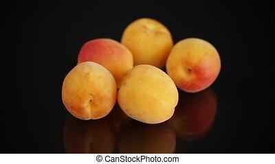 petit, fond, mûre, abricots, noir, poignée