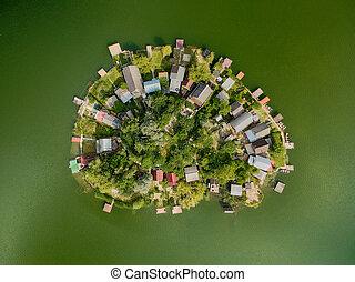 petit, forme coeur, lac, île