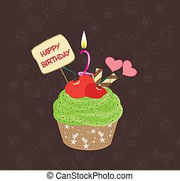 petit gâteau, anniversaire, numéro deux